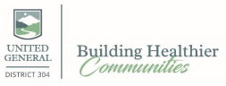 """Logo: Shield emblem with mountain, foliage, and stream background, and text, """"Building Healthier Communities"""""""